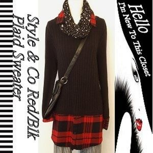 Style & Co Woman Red/Black Plaid Plus Sweater-1X